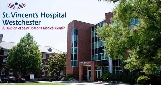 Front entrance of St. Vincent's Hospital with logo